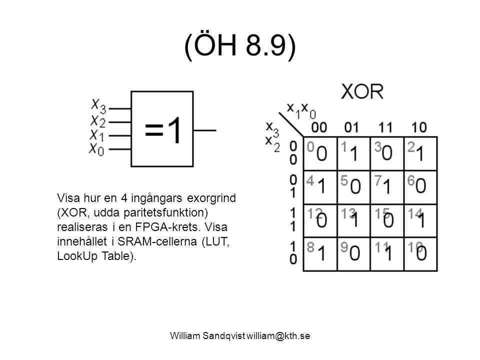William Sandqvist william@kth.se (ÖH 8.9) Visa hur en 4 ingångars exorgrind (XOR, udda paritetsfunktion) realiseras i en FPGA-krets.