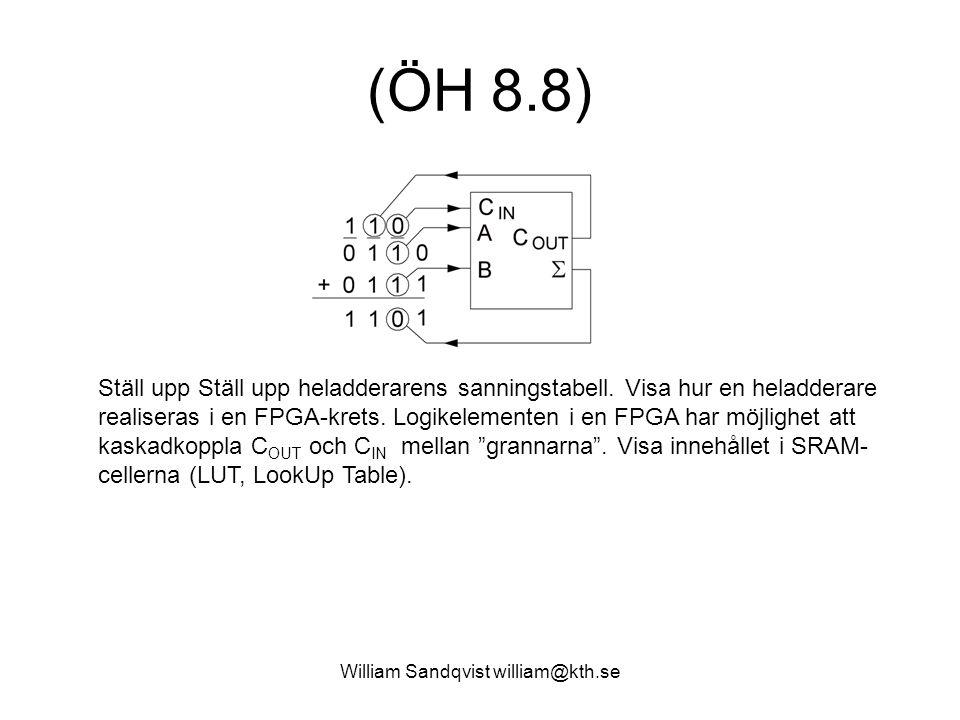 William Sandqvist william@kth.se (ÖH 8.8) Ställ upp Ställ upp heladderarens sanningstabell.