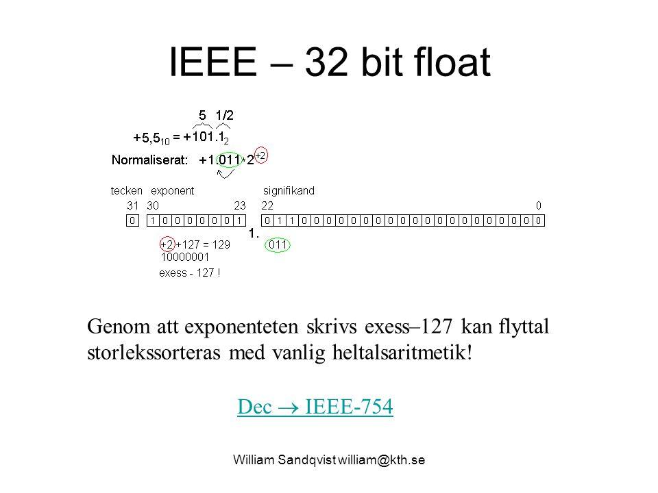 IEEE – 32 bit float Dec  IEEE-754 Genom att exponenteten skrivs exess–127 kan flyttal storlekssorteras med vanlig heltalsaritmetik! William Sandqvist