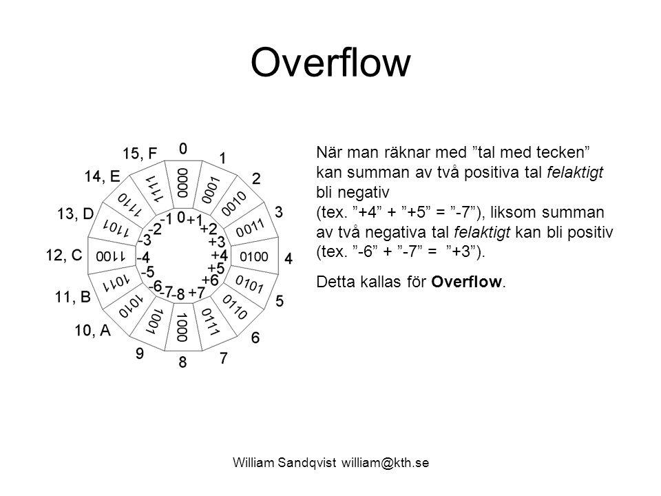 William Sandqvist william@kth.se Overflow När man räknar med tal med tecken kan summan av två positiva tal felaktigt bli negativ (tex.