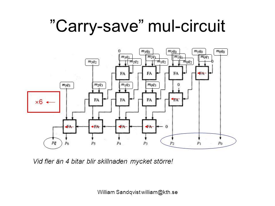 """William Sandqvist william@kth.se """"Carry-save"""" mul-circuit 66 Vid fler än 4 bitar blir skillnaden mycket större!"""