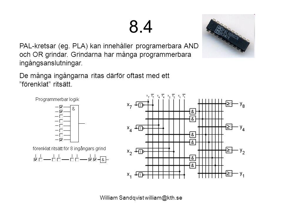 William Sandqvist william@kth.se 8.4 PAL-kretsar (eg. PLA) kan innehåller programerbara AND och OR grindar. Grindarna har många programmerbara ingångs