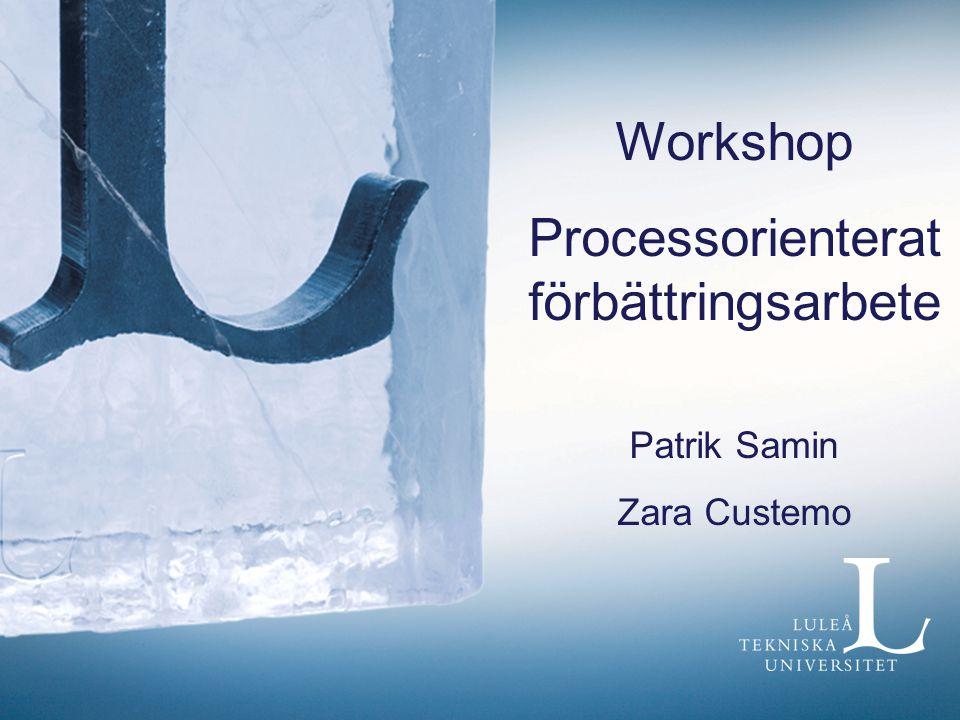 Workshop Processorienterat förbättringsarbete Patrik Samin Zara Custemo