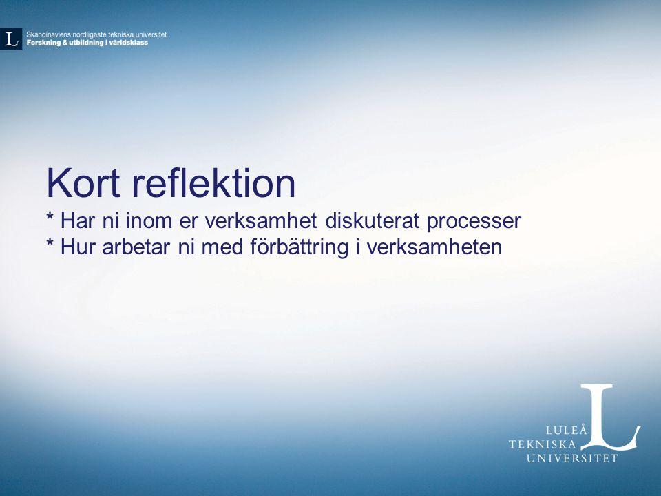 Studievägledning i förbättring Startade processarbetet 2010 Intressentanalys Processteam Arbetsgrupper Regelbundna träffar (sanktionerat hos chef)