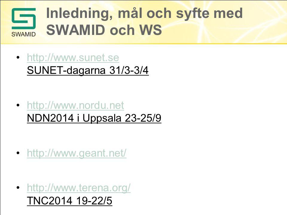 Inledning, mål och syfte med SWAMID och WS http://www.sunet.se SUNET-dagarna 31/3-3/4http://www.sunet.se http://www.nordu.net NDN2014 i Uppsala 23-25/9http://www.nordu.net http://www.geant.net/ http://www.terena.org/ TNC2014 19-22/5http://www.terena.org/