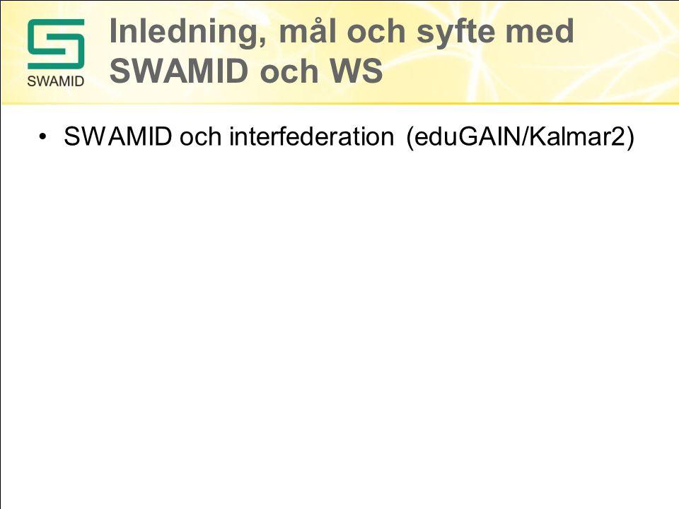 Inledning, mål och syfte med SWAMID och WS SWAMID och interfederation (eduGAIN/Kalmar2)