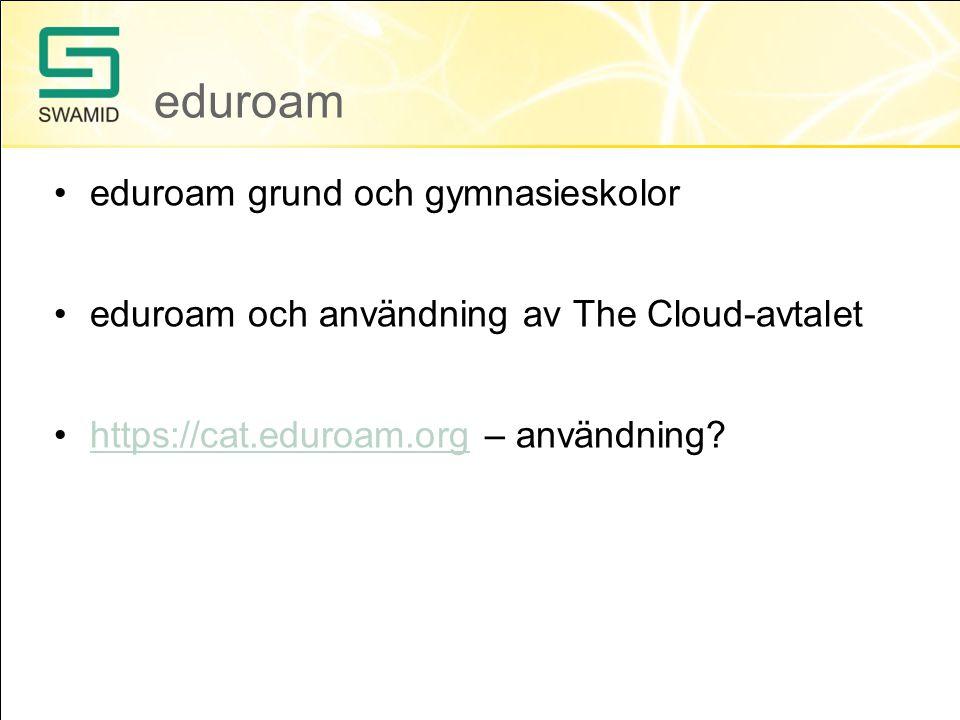 eduroam eduroam grund och gymnasieskolor eduroam och användning av The Cloud-avtalet https://cat.eduroam.org – användning https://cat.eduroam.org