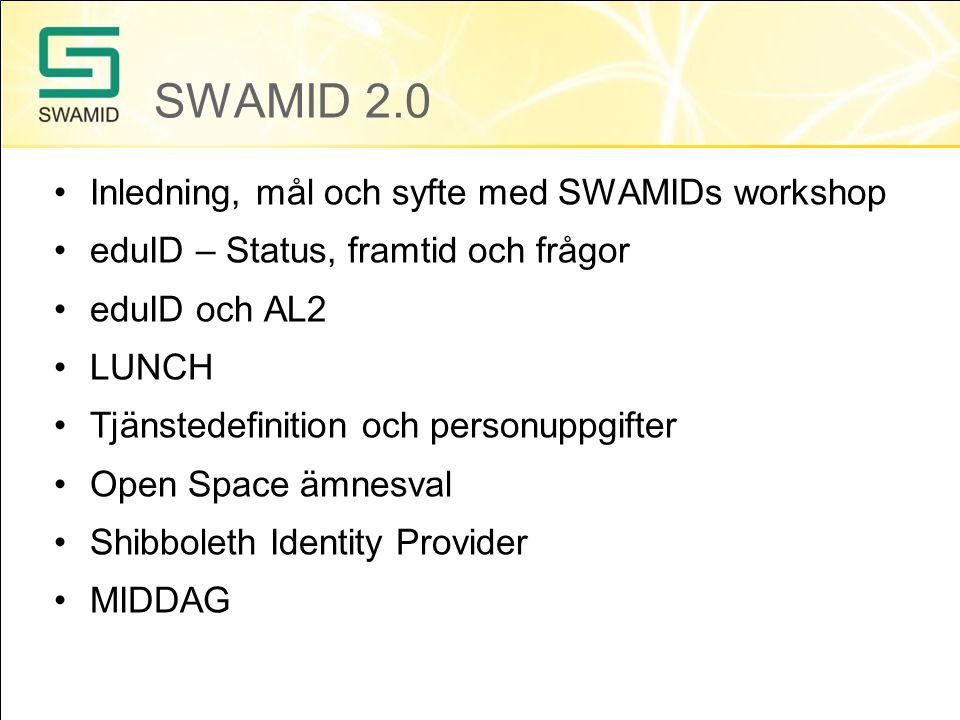 SWAMID 2.0 Inledning, mål och syfte med SWAMIDs workshop eduID – Status, framtid och frågor eduID och AL2 LUNCH Tjänstedefinition och personuppgifter Open Space ämnesval Shibboleth Identity Provider MIDDAG