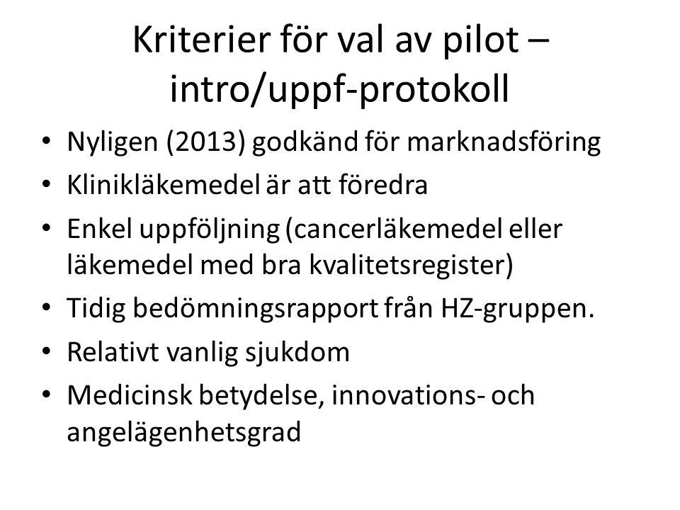 Kriterier för val av pilot – intro/uppf-protokoll Nyligen (2013) godkänd för marknadsföring Klinikläkemedel är att föredra Enkel uppföljning (cancerläkemedel eller läkemedel med bra kvalitetsregister) Tidig bedömningsrapport från HZ-gruppen.