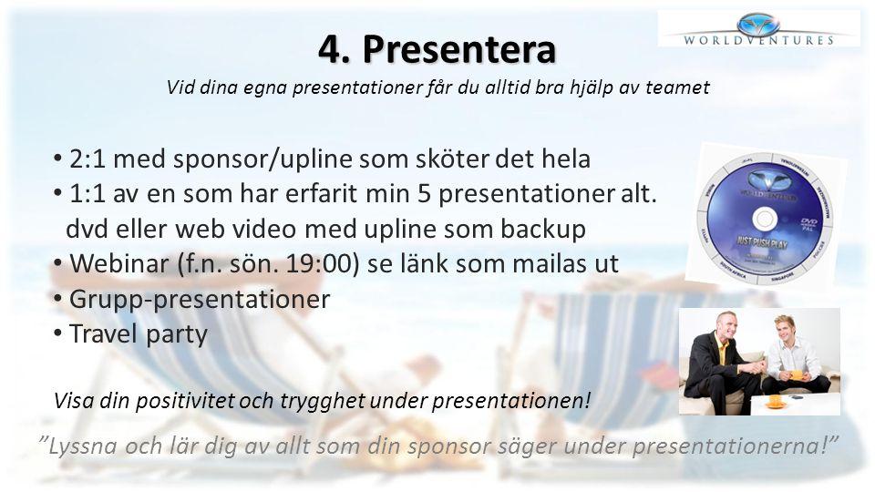 4. Presentera 4. Presentera Vid dina egna presentationer får du alltid bra hjälp av teamet 2:1 med sponsor/upline som sköter det hela 1:1 av en som ha