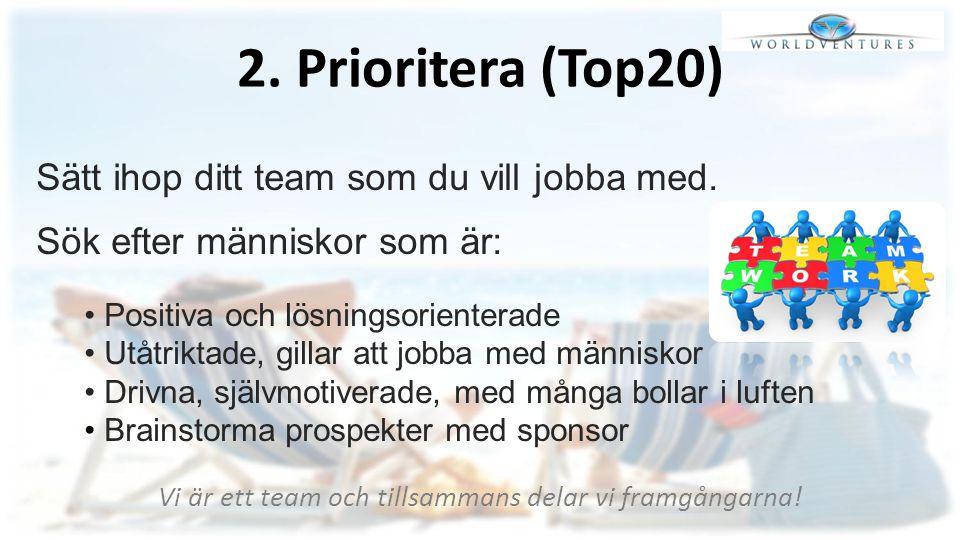 2. Prioritera (Top20) Sätt ihop ditt team som du vill jobba med. Sök efter människor som är: Positiva och lösningsorienterade Utåtriktade, gillar att