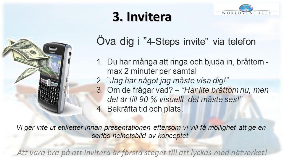 """3. Invitera Öva dig i """" 4-Steps invite"""" via telefon 1.Du har många att ringa och bjuda in, bråttom - max 2 minuter per samtal 2.""""Jag har något jag mås"""