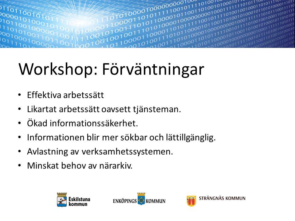 Workshop: Förväntningar Effektiva arbetssätt Likartat arbetssätt oavsett tjänsteman. Ökad informationssäkerhet. Informationen blir mer sökbar och lätt