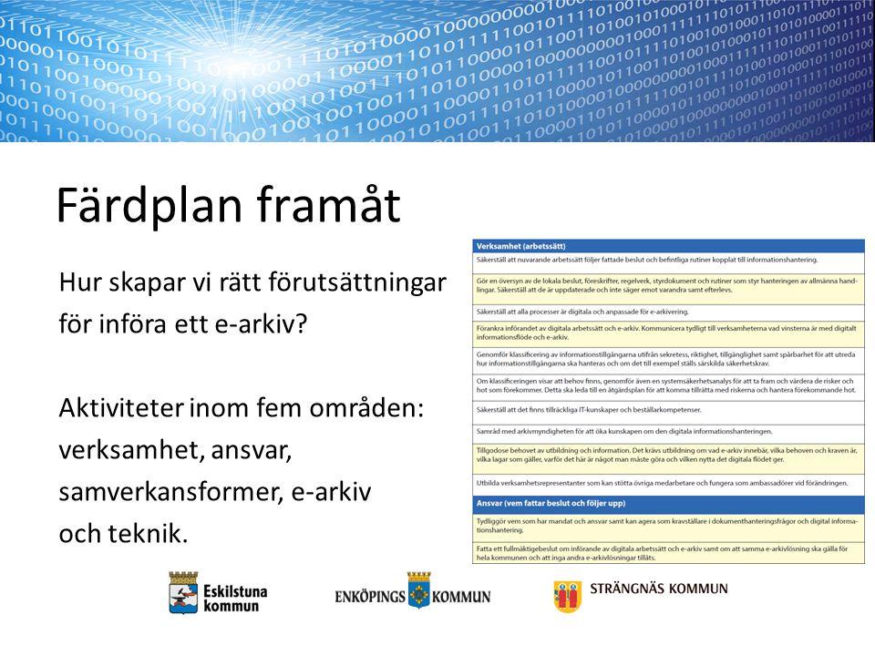Färdplan framåt Hur skapar vi rätt förutsättningar för införa ett e-arkiv? Aktiviteter inom fem områden: verksamhet, ansvar, samverkansformer, e-arkiv