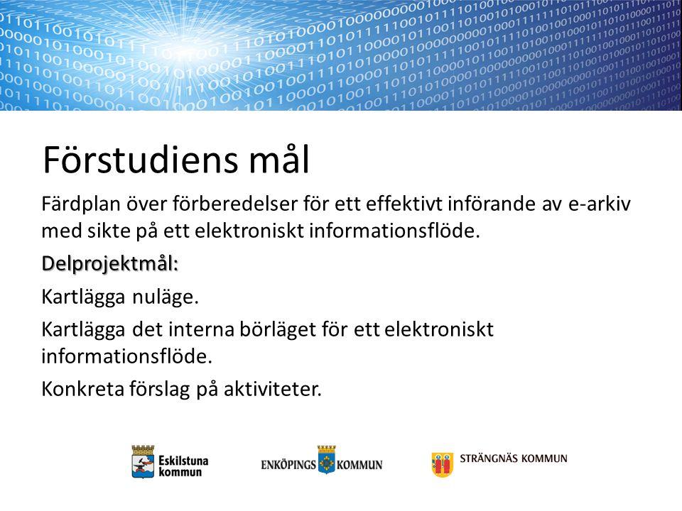 Förstudiens mål Färdplan över förberedelser för ett effektivt införande av e-arkiv med sikte på ett elektroniskt informationsflöde.Delprojektmål: Kartlägga nuläge.