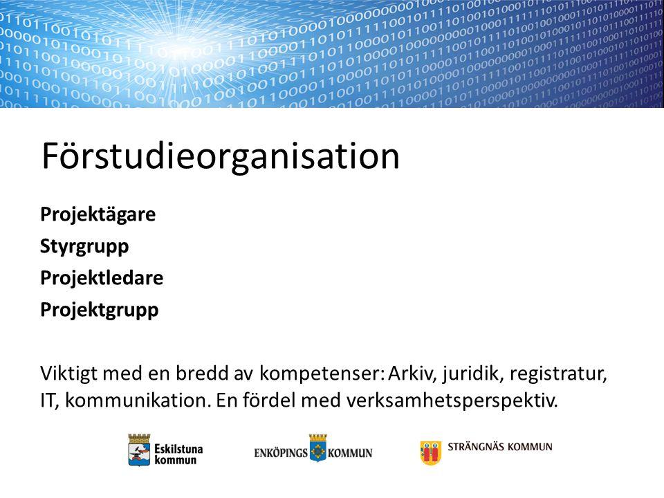Förstudieorganisation Projektägare Styrgrupp Projektledare Projektgrupp Viktigt med en bredd av kompetenser: Arkiv, juridik, registratur, IT, kommunikation.