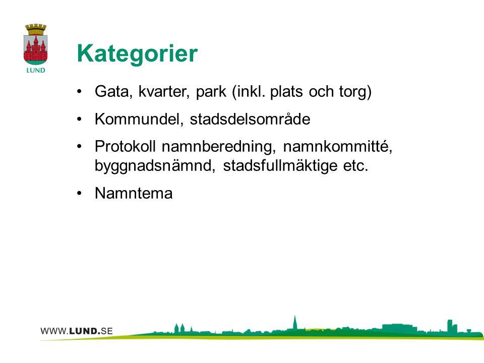 Kategorier Gata, kvarter, park (inkl. plats och torg) Kommundel, stadsdelsområde Protokoll namnberedning, namnkommitté, byggnadsnämnd, stadsfullmäktig