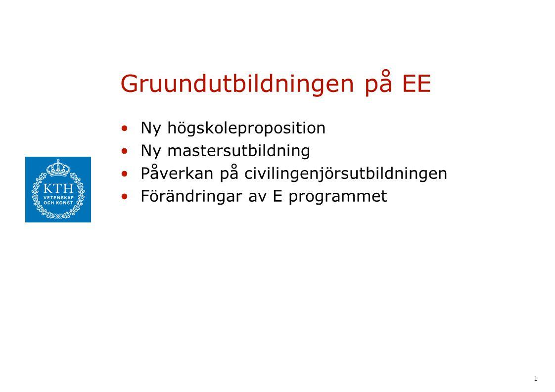1 Gruundutbildningen på EE Ny högskoleproposition Ny mastersutbildning Påverkan på civilingenjörsutbildningen Förändringar av E programmet
