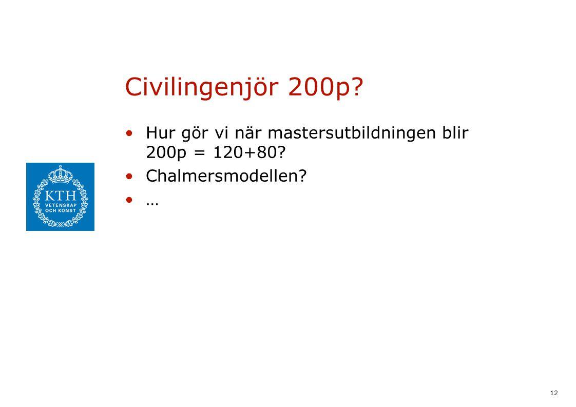 12 Civilingenjör 200p Hur gör vi när mastersutbildningen blir 200p = 120+80 Chalmersmodellen …