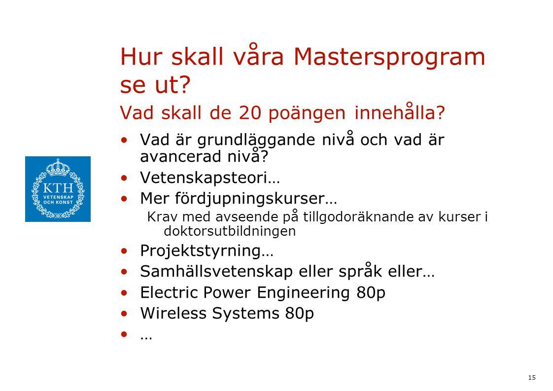 15 Hur skall våra Mastersprogram se ut? Vad skall de 20 poängen innehålla? Vad är grundläggande nivå och vad är avancerad nivå? Vetenskapsteori… Mer f