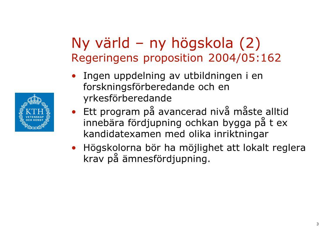 3 Ny värld – ny högskola (2) Regeringens proposition 2004/05:162 Ingen uppdelning av utbildningen i en forskningsförberedande och en yrkesförberedande