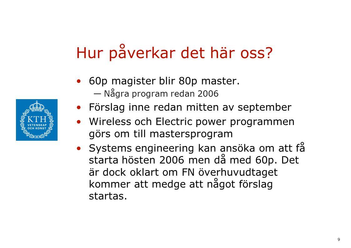 9 Hur påverkar det här oss? 60p magister blir 80p master. —Några program redan 2006 Förslag inne redan mitten av september Wireless och Electric power