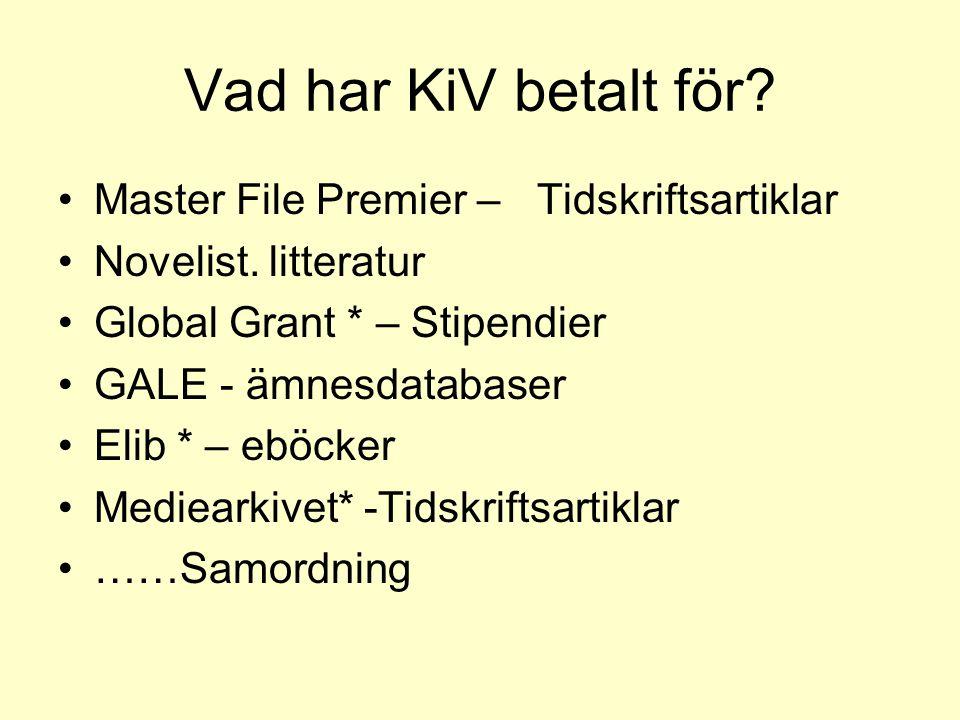 Vad har KiV betalt för? Master File Premier – Tidskriftsartiklar Novelist. litteratur Global Grant * – Stipendier GALE - ämnesdatabaser Elib * – eböck