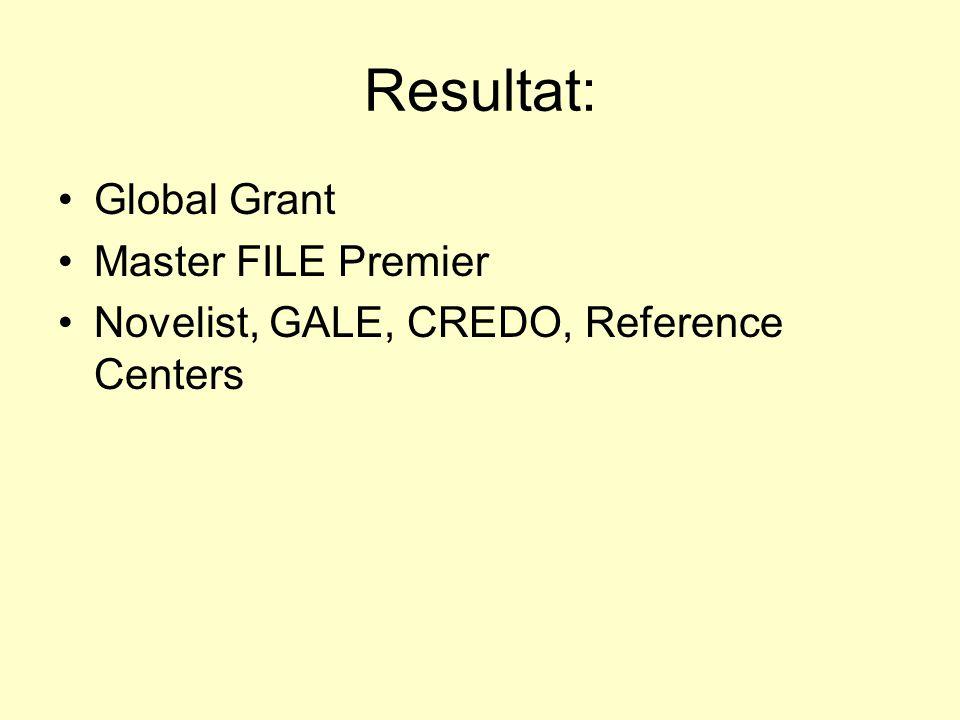 Resultat: Global Grant Master FILE Premier Novelist, GALE, CREDO, Reference Centers
