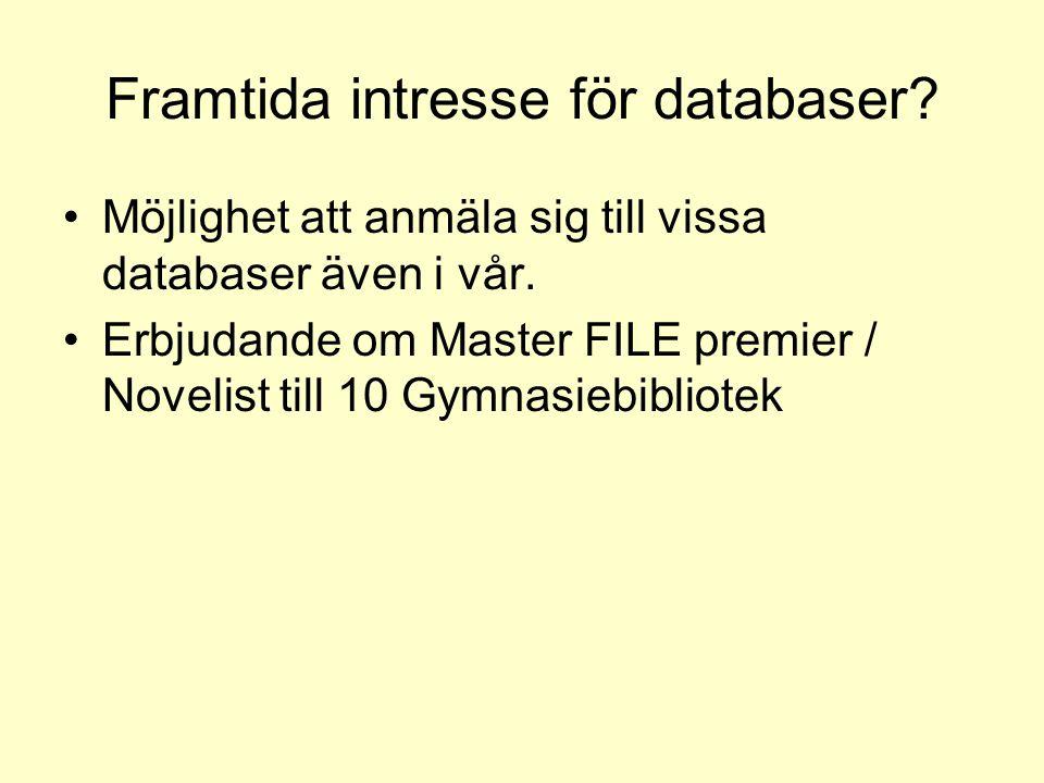Framtida intresse för databaser? Möjlighet att anmäla sig till vissa databaser även i vår. Erbjudande om Master FILE premier / Novelist till 10 Gymnas