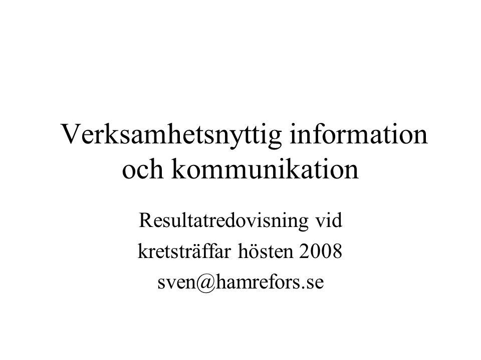 Verksamhetsnyttig information och kommunikation Resultatredovisning vid kretsträffar hösten 2008 sven@hamrefors.se