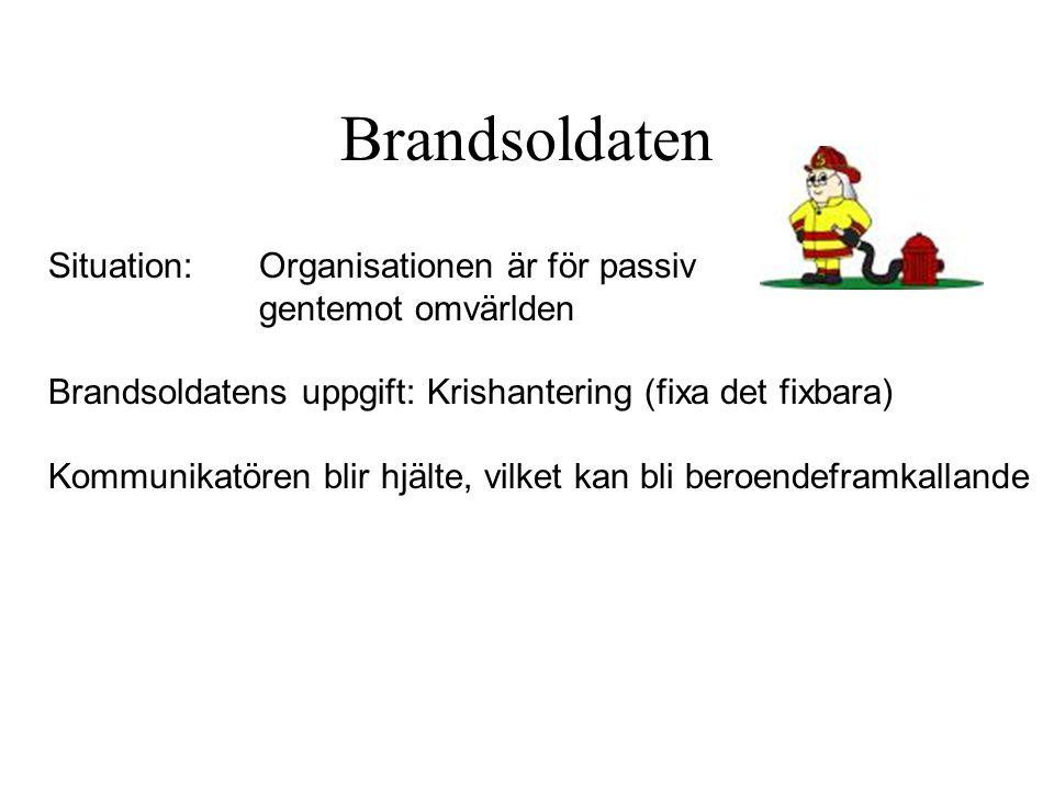 Brandsoldaten Situation: Organisationen är för passiv gentemot omvärlden Brandsoldatens uppgift: Krishantering (fixa det fixbara) Kommunikatören blir