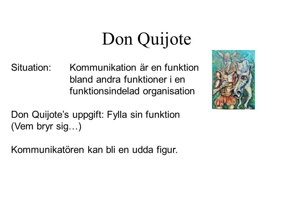 Don Quijote Situation: Kommunikation är en funktion bland andra funktioner i en funktionsindelad organisation Don Quijote's uppgift: Fylla sin funktio