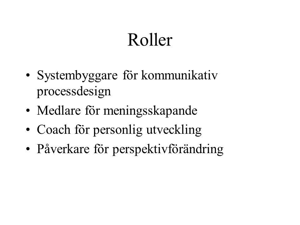 Roller Systembyggare för kommunikativ processdesign Medlare för meningsskapande Coach för personlig utveckling Påverkare för perspektivförändring