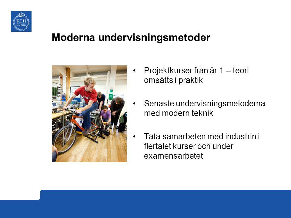 Moderna undervisningsmetoder Projektkurser från år 1 – teori omsätts i praktik Senaste undervisningsmetoderna med modern teknik Täta samarbeten med in
