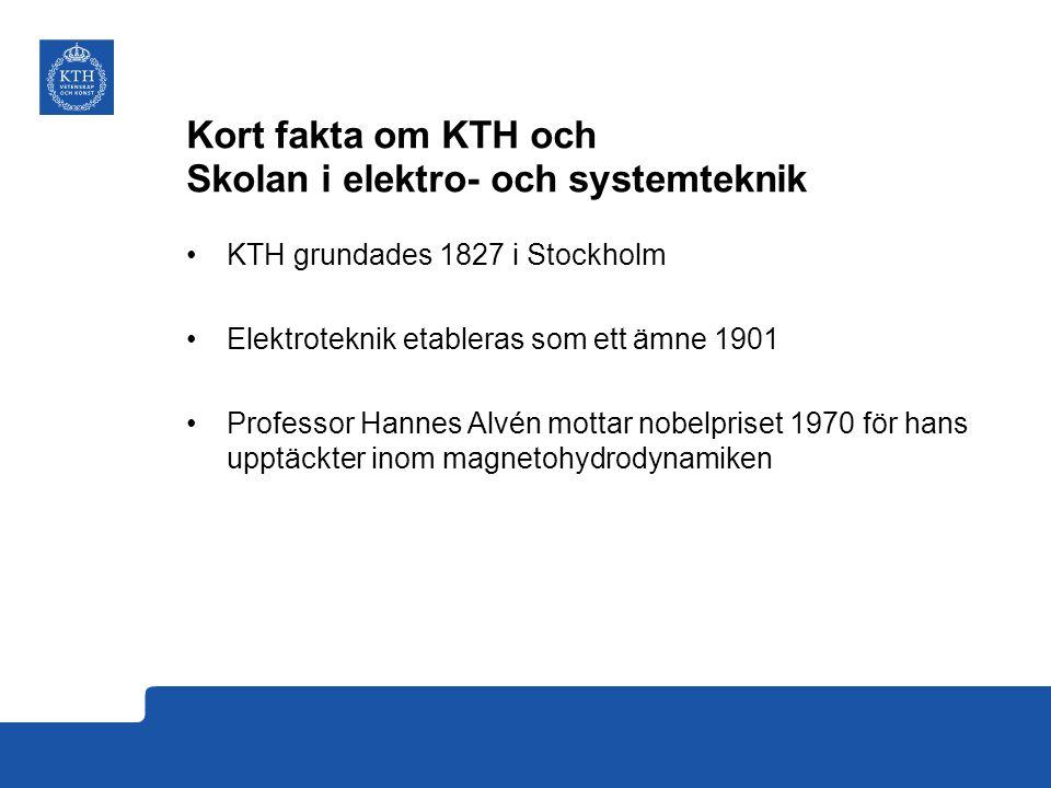 Kort fakta om KTH och Skolan i elektro- och systemteknik KTH grundades 1827 i Stockholm Elektroteknik etableras som ett ämne 1901 Professor Hannes Alvén mottar nobelpriset 1970 för hans upptäckter inom magnetohydrodynamiken