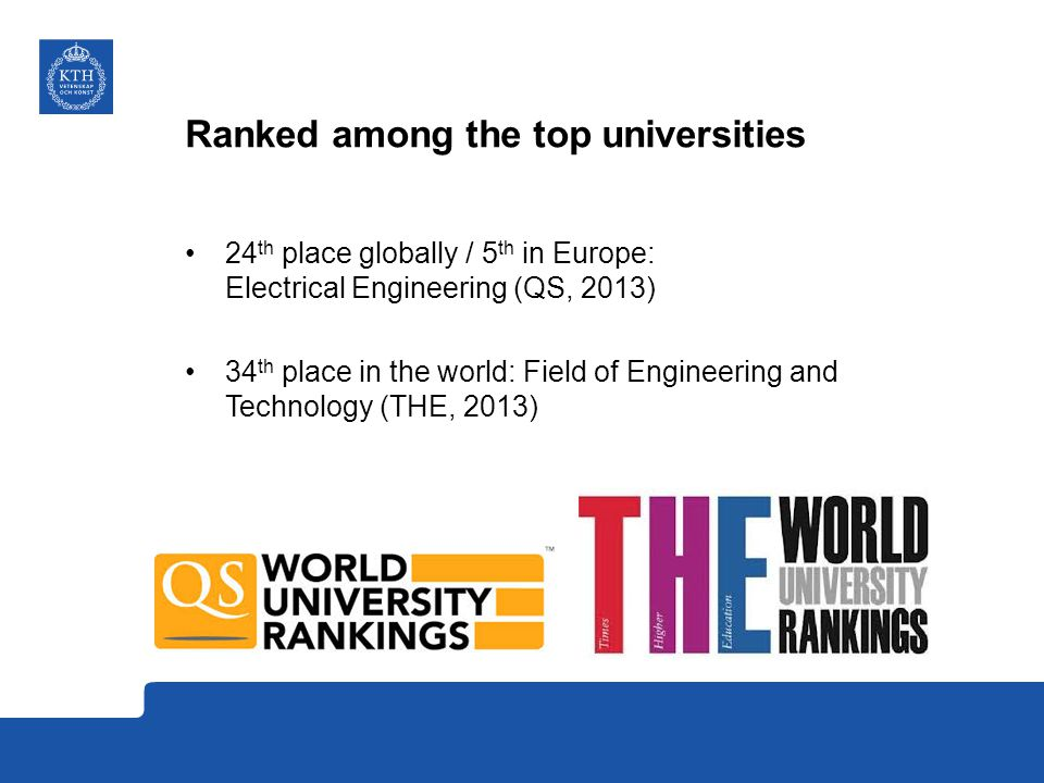 Ranked among the top universities 24 th place globally / 5 th in Europe: Electrical Engineering (QS, 2013) 34 th place in the world: Field of Engineering and Technology (THE, 2013)