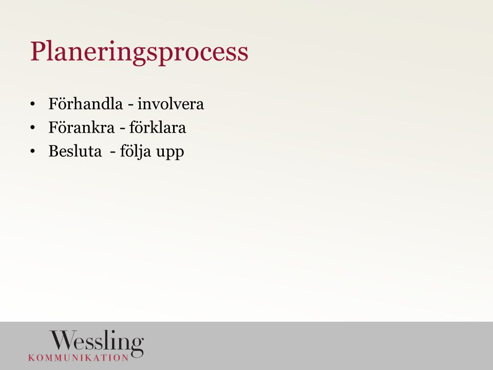 Planeringsprocess Förhandla - involvera Förankra - förklara Besluta - följa upp