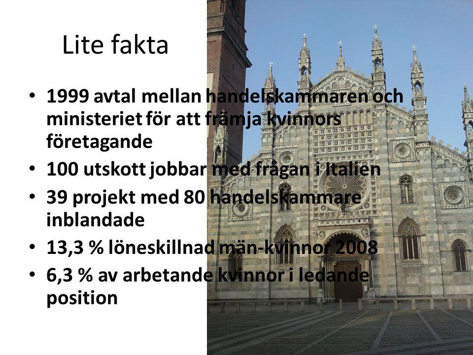 Lite fakta 1999 avtal mellan handelskammaren och ministeriet för att främja kvinnors företagande 100 utskott jobbar med frågan i Italien 39 projekt me