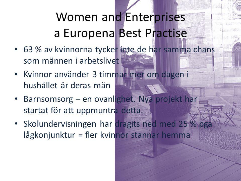 Women and Enterprises a Europena Best Practise 63 % av kvinnorna tycker inte de har samma chans som männen i arbetslivet Kvinnor använder 3 timmar mer om dagen i hushållet är deras män Barnsomsorg – en ovanlighet.