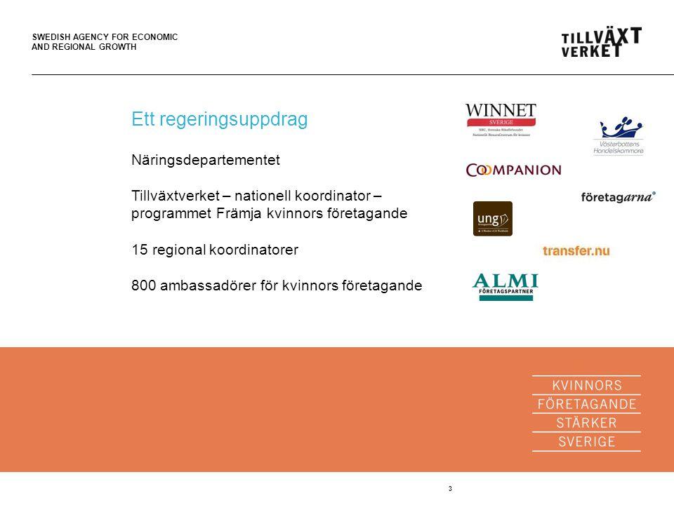 SWEDISH AGENCY FOR ECONOMIC AND REGIONAL GROWTH 4 Boka en företagare på www.ambassadorer.se