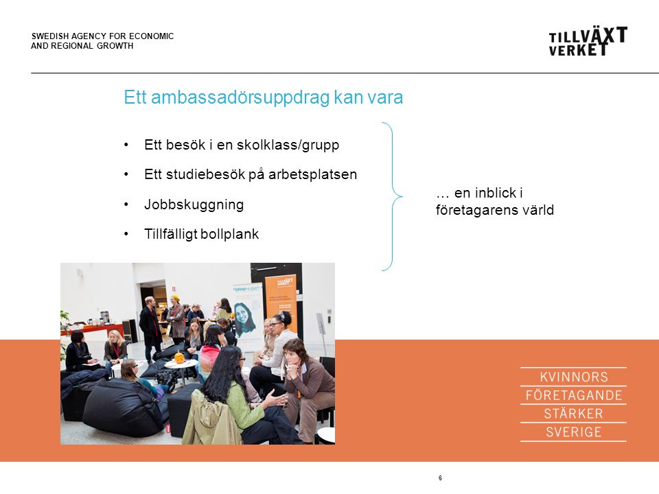 SWEDISH AGENCY FOR ECONOMIC AND REGIONAL GROWTH 6 Ett ambassadörsuppdrag kan vara Ett besök i en skolklass/grupp Ett studiebesök på arbetsplatsen Jobbskuggning Tillfälligt bollplank … en inblick i företagarens värld