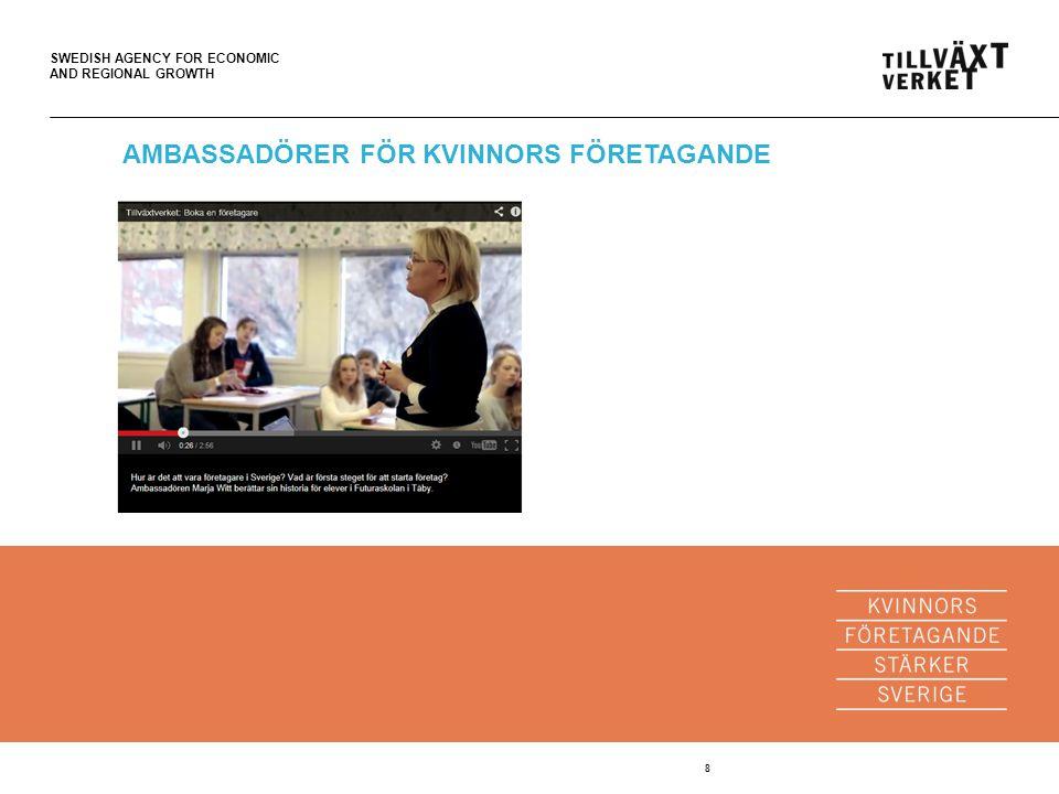 SWEDISH AGENCY FOR ECONOMIC AND REGIONAL GROWTH 9 AMBASSADÖRER FÖR KVINNORS FÖRETAGANDE