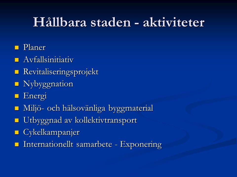 Nybyggnation (på gammal industrimark) Västra hamnen, Malmö 100% försörjande med energi (mål) Byggmaterial, grönt, vatten, avfallshantering, buss+cykel, informationskampanjer, variation.