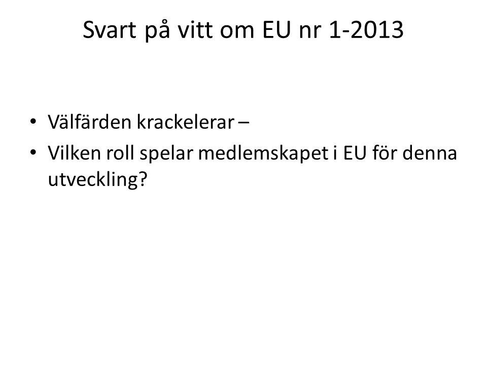 Svart på vitt om EU nr 1-2013 Välfärden krackelerar – Vilken roll spelar medlemskapet i EU för denna utveckling