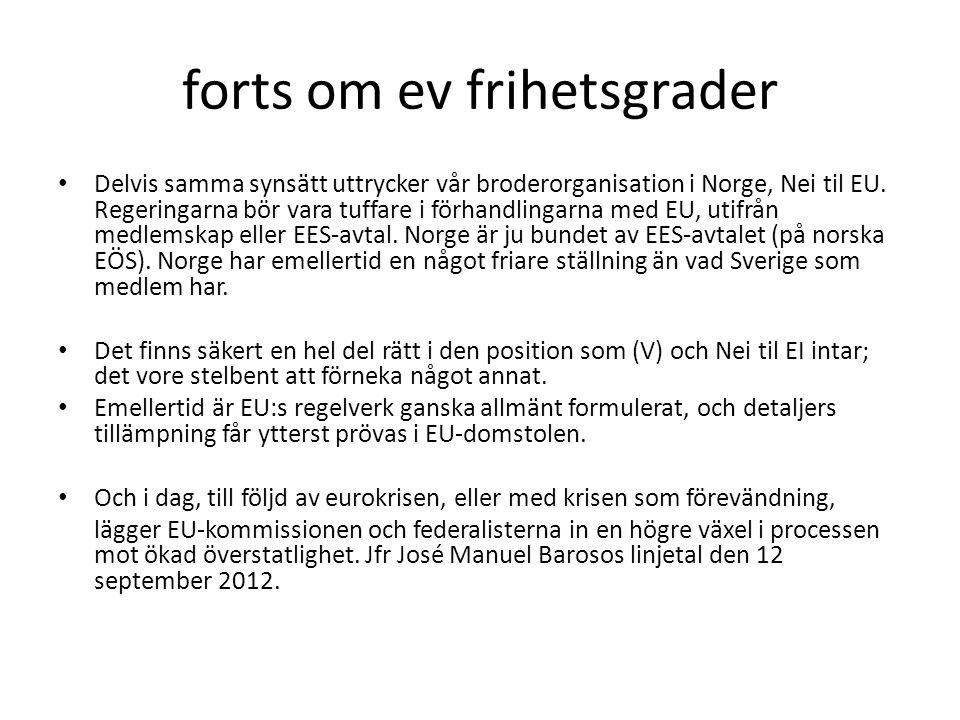 forts om ev frihetsgrader Delvis samma synsätt uttrycker vår broderorganisation i Norge, Nei til EU.