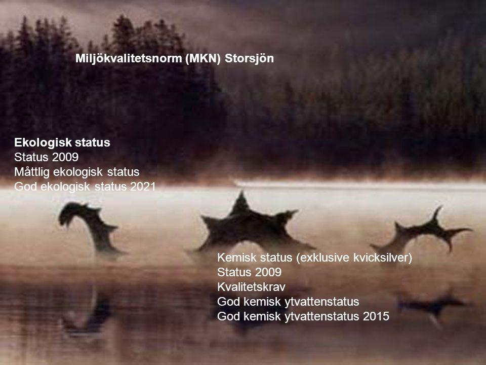 Ekologisk status Status 2009 Måttlig ekologisk status God ekologisk status 2021 Kemisk status (exklusive kvicksilver) Status 2009 Kvalitetskrav God ke