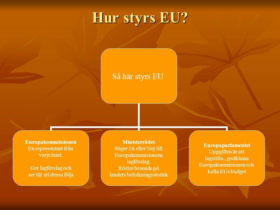 Hur styrs EU? Så här styrs EU Europakommissionen En representant från varje land. Ger lagförslag och ser till att dessa följs Ministerrådet Säger JA e