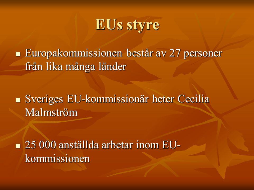 EUs styre Europakommissionen består av 27 personer från lika många länder Europakommissionen består av 27 personer från lika många länder Sveriges EU-