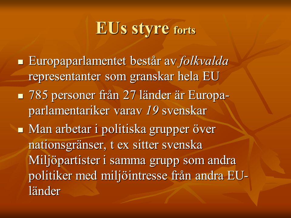 EUs styre forts Europaparlamentet består av folkvalda representanter som granskar hela EU Europaparlamentet består av folkvalda representanter som gra