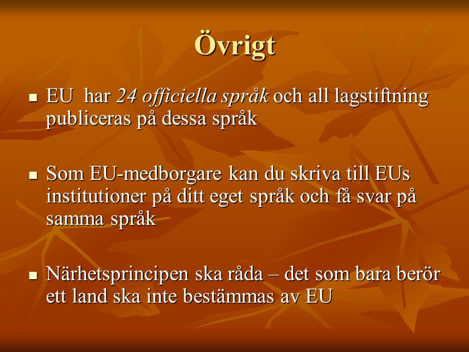 Övrigt EU har 24 officiella språk och all lagstiftning publiceras på dessa språk EU har 24 officiella språk och all lagstiftning publiceras på dessa s